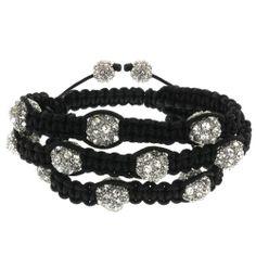 Row Hot Pave Unisex 10mm 12 White Crystal Beads Adjustable Bracelet