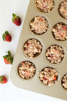 Strawberry Coffee Cake Muffins combine the flavors of the season with fresh strawberries and coffee cake! Make a batch to share with your friends and family.