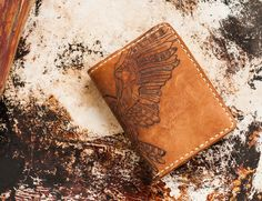 leather wallet, pyrography, handmade