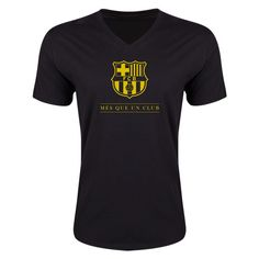 FC Barcelona Mes Que Un Club Small Logo V-Neck T-Shirt (Black)