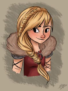 Digital fanart drawing of Astrid from Dreamworks How To Train Your Dragon. By Yenthe Joline.