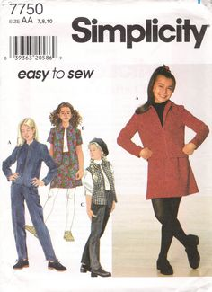 Simplicity 7750 Girls' Jacket or Vest, Skirt and Pants
