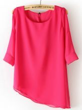 Rose Red Half Sleeve Asymmetrical Chiffon Blouse $21.94