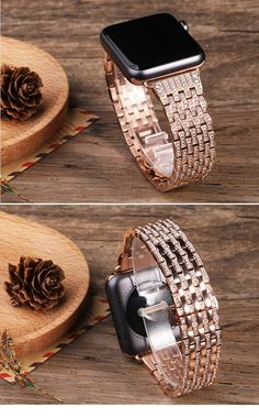 New Apple Watch Bands, Apple Watch Faces, Apple Watch Series 1, Apple Watch Wristbands, Cool Watches, Bling, Rose Gold, Stainless Steel, Crystals
