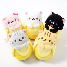 It's hard to say how they ended up in banana peels, but they're adorable! The kitties of the Bananya series are sure to win you over right away with their cute smiles!    There are five different Bananya character plushies available: the original Bananya, Tiger Bananya, Black Bananya, Kiddy Bananya, and Tabby Bananya! Each has its own special qualities, such as Kiddy's extra-fluffy fur and red b...