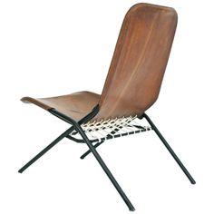 Rare Olof Pira Leather Folding Chair