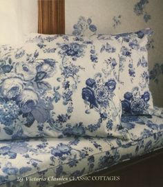 Blue and white floral sheets: Victoria magazine