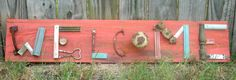 Rustic Welcome sign made with wood and junk items by RusticGlory