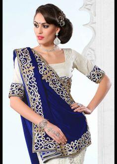 New fashion half saree, velvet royal blue & white