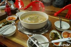 Happy contents of the white ink: Specialty Sosa forests and  mudflats experience of Incheon Beach sipripo Lunch here: Clam noodle soup. South Korea