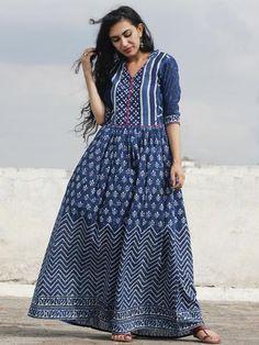 Indigo Ivory Magenta Hand Block Printed Dress With Gathers - DS17F001
