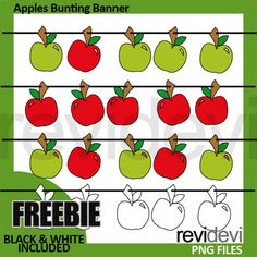 Back to school clipart freebie featuring apples bunting banners in re green. A fun clip art collection to make back to school activities. You might also like this superhero bunting banners freebie Link-Free Clipart Superhero Bunting Banners