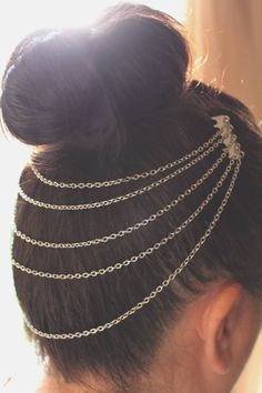 Silver Hair Chain by atthedrivein on Etsy, $12.00