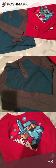 Two Large 10/12 Boys Long Sleeve Tops Faded glory two toned long sleeve top size L 10/12. Only worn once in new condition. Mine craft large boys long sleeve top only worn once. Shirts & Tops Tees - Long Sleeve