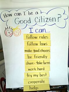 Teaching Citizenship in Kindergarten. Great lesson for the beginning of the year to teach about cooperation and doing our best.                                                                                                                                                     More