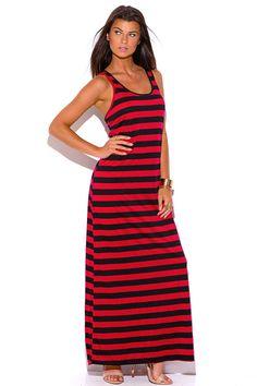 +Size Red & Black Stripe Racer Back Long Maxi Dress