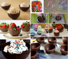 Make your own delicious chocolate bowls. Wash your balloons, blow them up, dip them in chocolate, wait for the chocolate to dry, and then pop away! Fill them with ice cream for a fun party treat. Chocolate Pudding Cups, Frozen Chocolate, Chocolate Art, How To Make Chocolate, Chocolate Cupcakes, Chocolate Desserts, Making Chocolate, Delicious Chocolate, Chocolate Chips