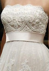 Lace topped wedding dress with empire waist and a satin ribbon my wedding dress!