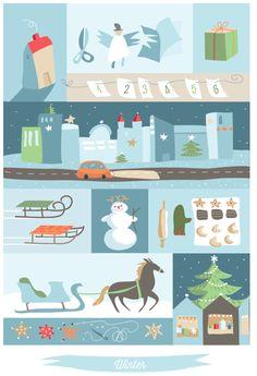 Kostenloser Weihnachtskarten Download: für Karten, Anhänger und zum Geschenke verschönern.