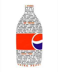 """David Carson uses grouping by putting all of the words and phrases in the middle of the page in the shape of a coke bottle. He also uses contrast by making the words """"I wanna be young have fun drink Pepsi"""" in red instead of black."""