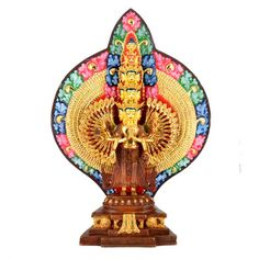 """means """"the who looks upon the world with His head splits to eleven pieces to comprehend the needs of many beings. Handicraft, Compassion, Buddha, Lord, Statue, Mandalas, Craft, Arts And Crafts, Sculptures"""