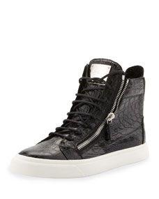 Mens Croc-Embossed Zip High-Top Sneaker, Black