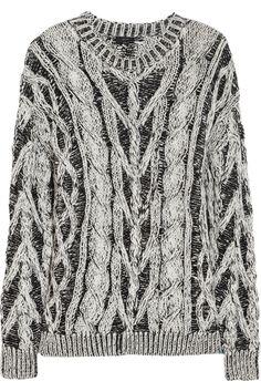 Joseph|Two-tone cable-knit cotton sweater|NET-A-PORTER.COM