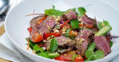 This aromatic Asian salad combines lemony-flavoured coriander leaves with cool cucumber, refreshing mint and rare beef.