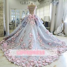 Custom Made Great Ball Gown Wedding Dresses Pretty Flowers Quinceanera Dresses, Ball Gown Long Backless Wedding Gowns Light Blue Quinceanera Dresses, Quinceanera Themes, Evening Dress Long, Evening Gowns, Formal Dresses For Teens, Formal Dresses For Weddings, Backless Wedding, Gown Wedding, Lace Wedding