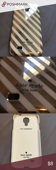 Kate Spade Galaxy S4 phone case Gold and cream stripe Kate Spade Galaxy S4 phone case. No chips but does have regular wear scratches. kate spade Accessories Phone Cases