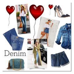 """""""Denim"""" by tatajrj ❤ liked on Polyvore featuring Juicy Couture, Chicnova Fashion, Gucci, Gianvito Rossi and GUESS"""