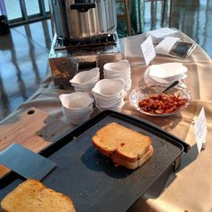 Nothing like a grilled cheese and soup go warm you up on this chilly evening! #cwtasting #cateringworks