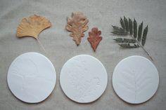 ❍ Porcelain herbarium coasters by Otchipotchi . September 2010