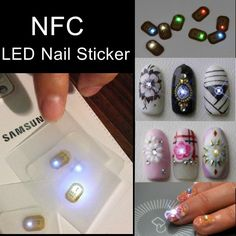 Red White Green Blue Light NFC Nail Sticker Flash LED Intelligent Decal Party Club $1.99