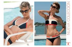 Bikinis estilo navy con raya off white y naranja.