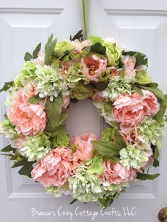 Peach and green colored flower wreath floral peony wreath floral spring summer wreath peony front door wreath housewarming gift (89.00 USD) by BsCozyCottageCrafts