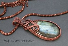 Labradorite With Antiqued Copper Wire Wrapped by MadeByMyLeftHand