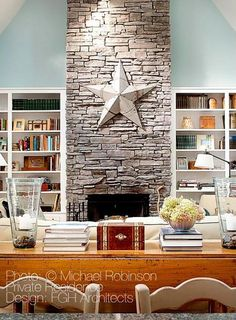 House of Turquoise: Michael Robinson Turquoise Dining Room, House Of Turquoise, Fireplace Bookshelves, Fireplace Built Ins, Stone Fireplace Wall, Stone Fireplaces, Fireplace Ideas, Fake Brick Wall, Michael Robinson