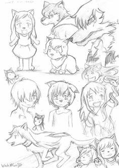 Wolf Children Sketches by WhiteXRose96