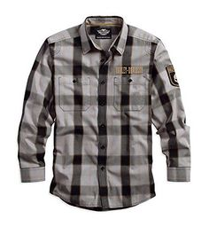 Harley-Davidson Men's Skull Patch Plaid Long Sleeve Woven Shirt Gray