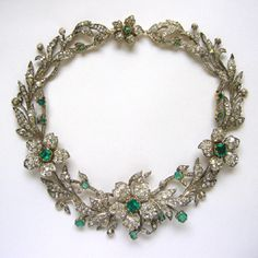 Diamond and emerald necklace made to look like a wreath of flowers and leaves, ca. 1850. Belonged to the Hapsburg imperial family of Austria.