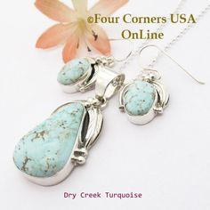 Four Corners USA Online - Dry Creek Turquoise Pendant Necklace Earring Set Navajo Thomas Francisco NAN-1439, $495.00 (http://stores.fourcornersusaonline.com/dry-creek-turquoise-pendant-necklace-earring-set-navajo-thomas-francisco-nan-1439/)
