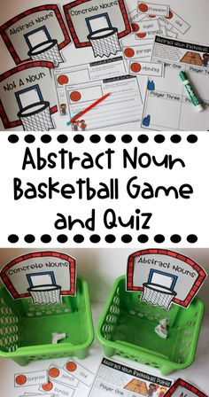 Abstract and concrete noun games! Love these printable games for literacy centers to boost grammar skills! Also includes a print and go abstract noun quiz! Noun Games, Literacy Games, Grammar Activities, Literacy Centers, Classroom Activities, Ela Games, Art Centers, Learning Centers, Primary Teaching