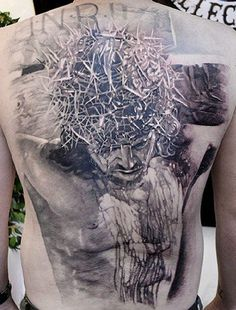 This detailed backpiece was inked by Elvin Yong. #InkedMagazine #backpiece #tattoo #tattoos #art #jesus #religious