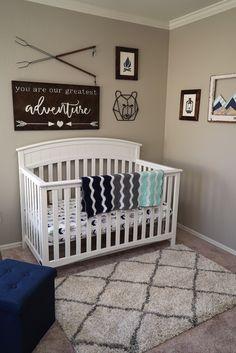 Trendy Ideas For Baby Nursery Neutral Navy Baby Bedroom, Baby Boy Rooms, Baby Boy Nurseries, Baby Room Decor, Nursery Room, Woodsy Nursery, Outdoor Nursery, Baby Nursery Neutral, Navy Nursery