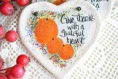Items similar to Thanksgiving Napkin Ring Salt Dough Heart / Bright Fall Pumpkin Decor on Etsy Unique Christmas Trees, Christmas Tree Ornaments, Thanksgiving Decorations, Thanksgiving Placemats, Salt Dough Ornaments, Pumpkin Decorating, Decorating Ideas, Craft Sale, Fall Pumpkins