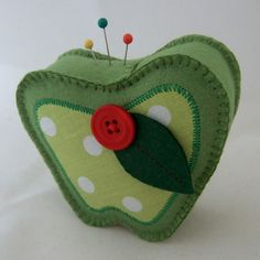 Pincushions to Store Your Pins Felt and Fabric Green Apple Pin Cushion Design by CraftyMarie