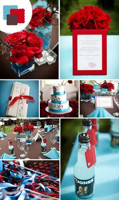Cherry Red + Aqua The blend of fiery red and cool aqua accents makes this a…