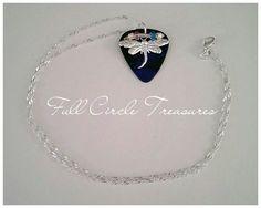 "Silver dragonfly guitar pick necklace, sterling silver necklace, royal blue, original design, woman, teen, rocker elegance, 20"" necklace by FullCircleTreasures on Etsy"