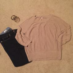 Banana Republic Tan Sweater Size L 3/4 sleeves, can be worn down or buttoned up. Some slight pilling. Very comfortable! Banana Republic Sweaters Crew & Scoop Necks